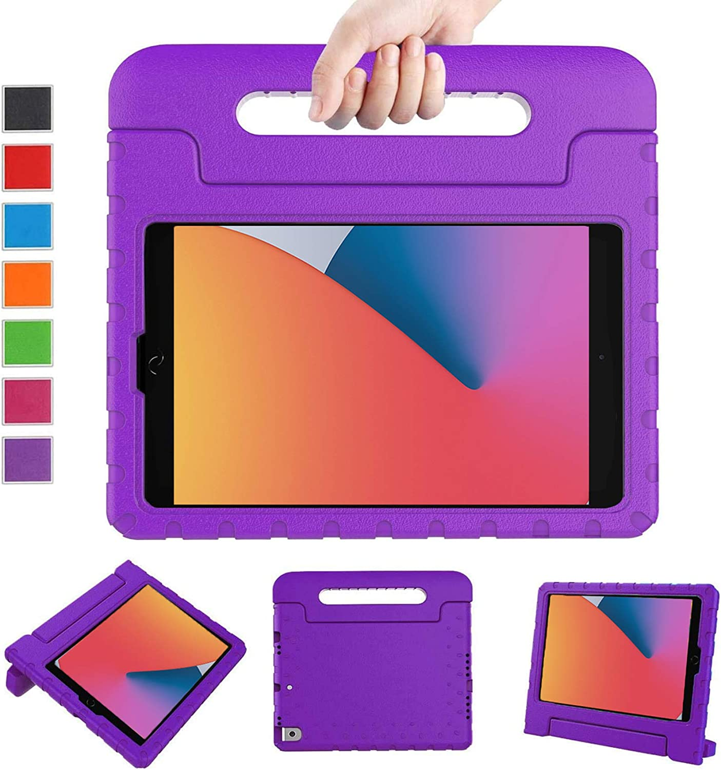 LTROP New iPad 8th Generation Case 2020, iPad 10.2 Case, iPad 7th Generation Case for Kids - Shockproof Light Weight Handle Stand Kids Case for 10.2 inch iPad 8th Gen 2020/ 7th Gen 2019/ Air 3, Purple