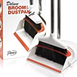 Angle Broom and Dustpan - Broom and Dustpan Set for Home, Kitchen, Floor, Office, Living Room - Upright Standing Long Handle
