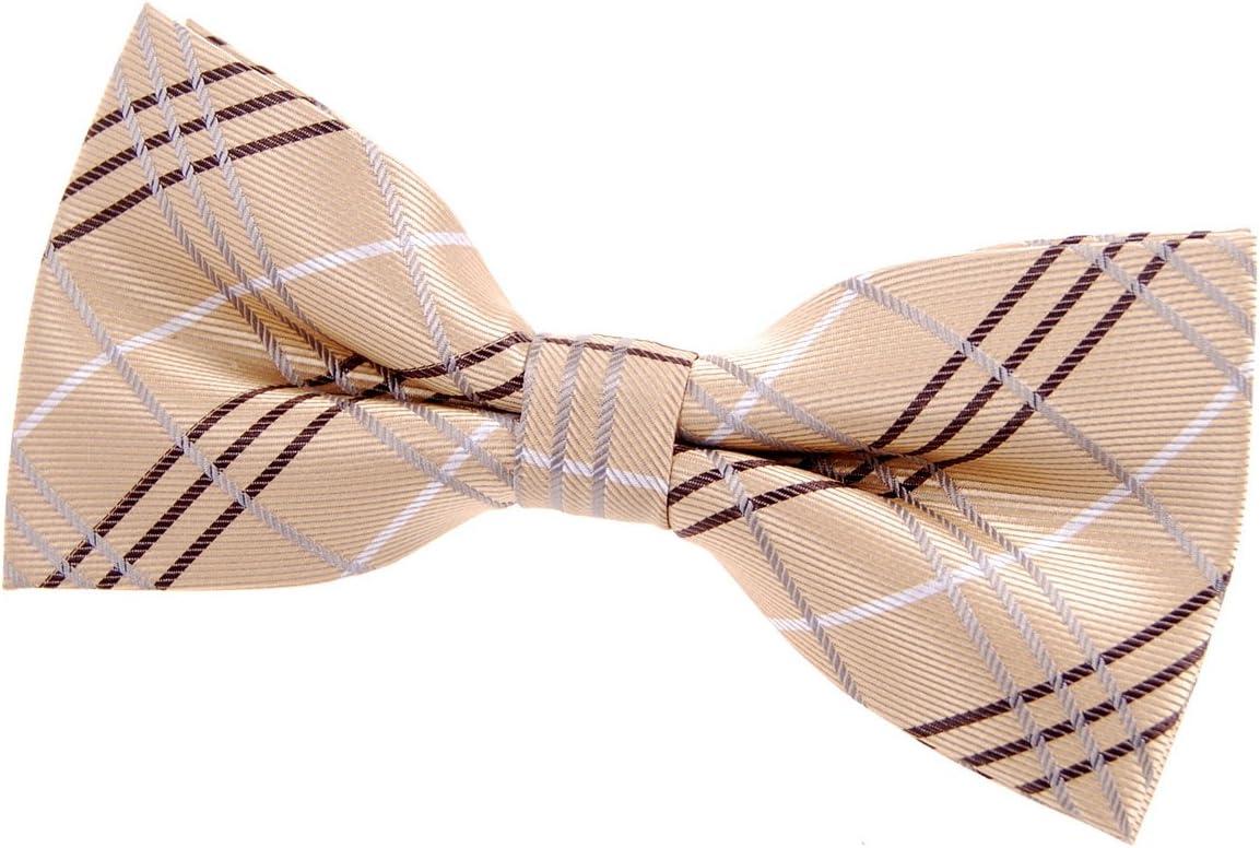 Retreez Tartan Check styles محبوك من الألياف الدقيقة مربوط مسبقًا من ربطة عنق (4. 5 بوصات) - ذهبي