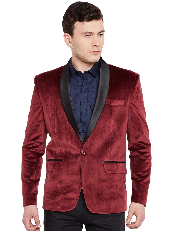 WINTAGE Men's Premium Velvet Notch Lapel Tuxedo Coat Blazer Jacket: Maroon, 4XL