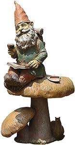 Napco Magical Gnome 12 Inch Resin Decorative Fairy Garden Statue Figurine, Green