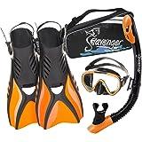 Seavenger Voyager Snorkeling Set | Travel Fins, Snorkel, Mask and Gear Bag for Men and Women