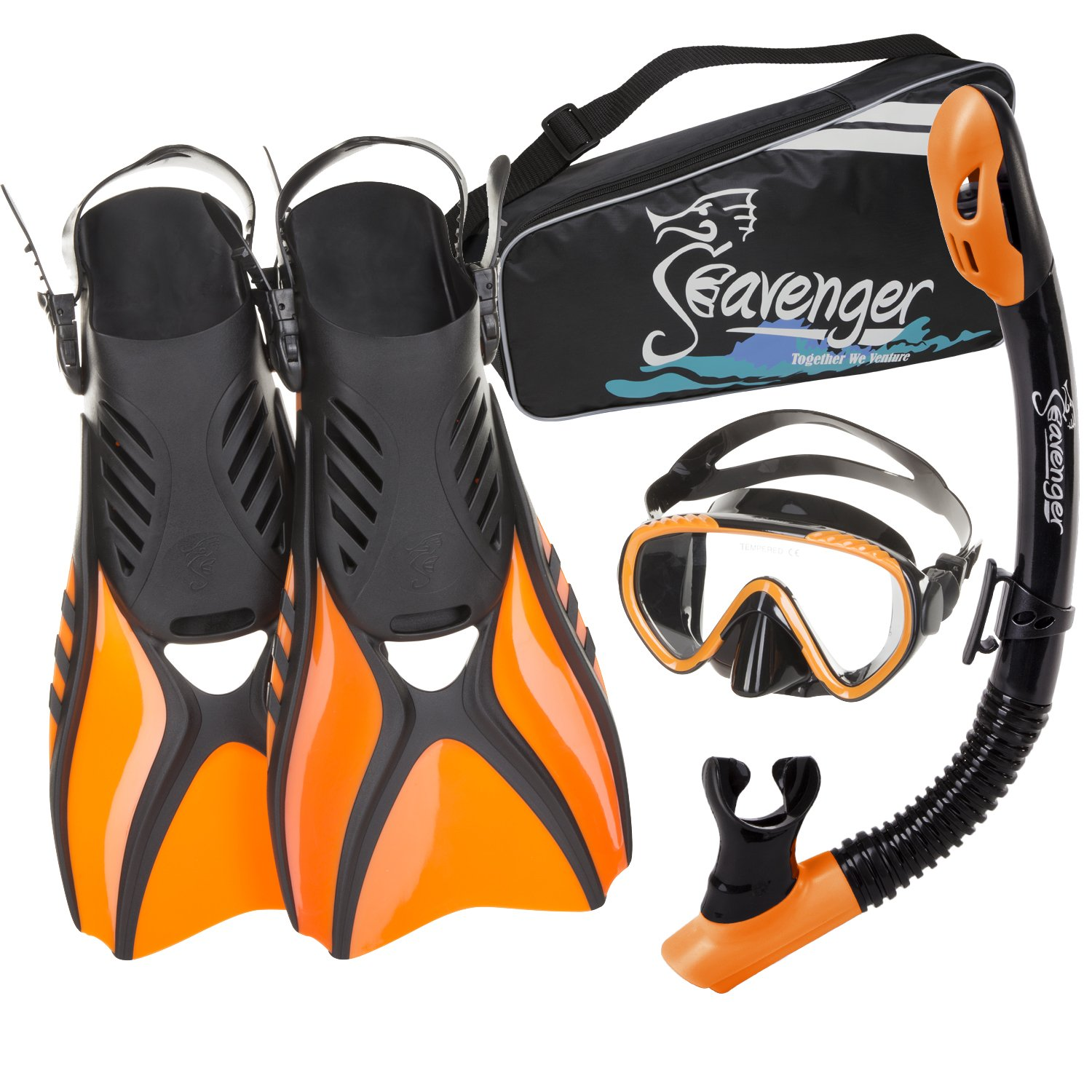 Seavenger Advanced Snorkeling Set with Panoramic Mask, Trek Fins, Dry Top Snorkel & Gear Bag (Black Silicone/Orange, X-Small)