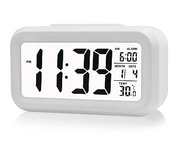 Gearmax® LED Digital Alarma despertador Reloj Repetición activada por luz Snooze Sensor de luz Tiempo Fecha Temperatura(Blanco)