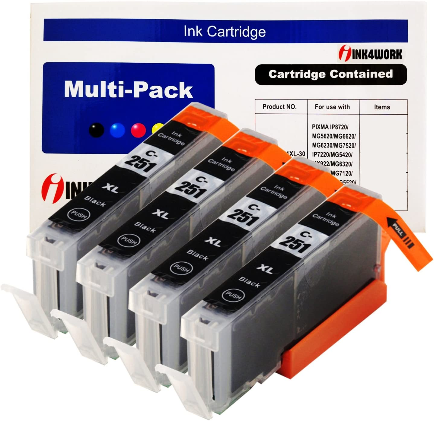 INK4WORK Compatible Ink Cartridge Replacement For Canon CLI-251XL CLI-251 XL For PIXMA MX722 MX922 iP7220 iP8720 iX6820 MG5420 MG5422 MG5520 MG5522 MG5620 (Photo Black, 4-Pack)