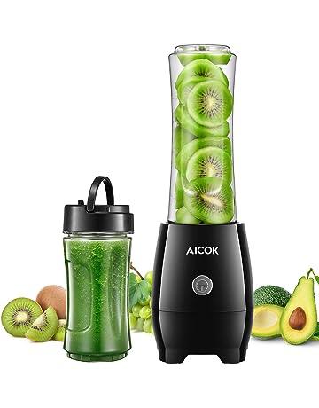 Batidora de Vaso Aicok Mini Batidora Smoothie Electrica con 2 Botellas Portátil para Zumos de Frutas