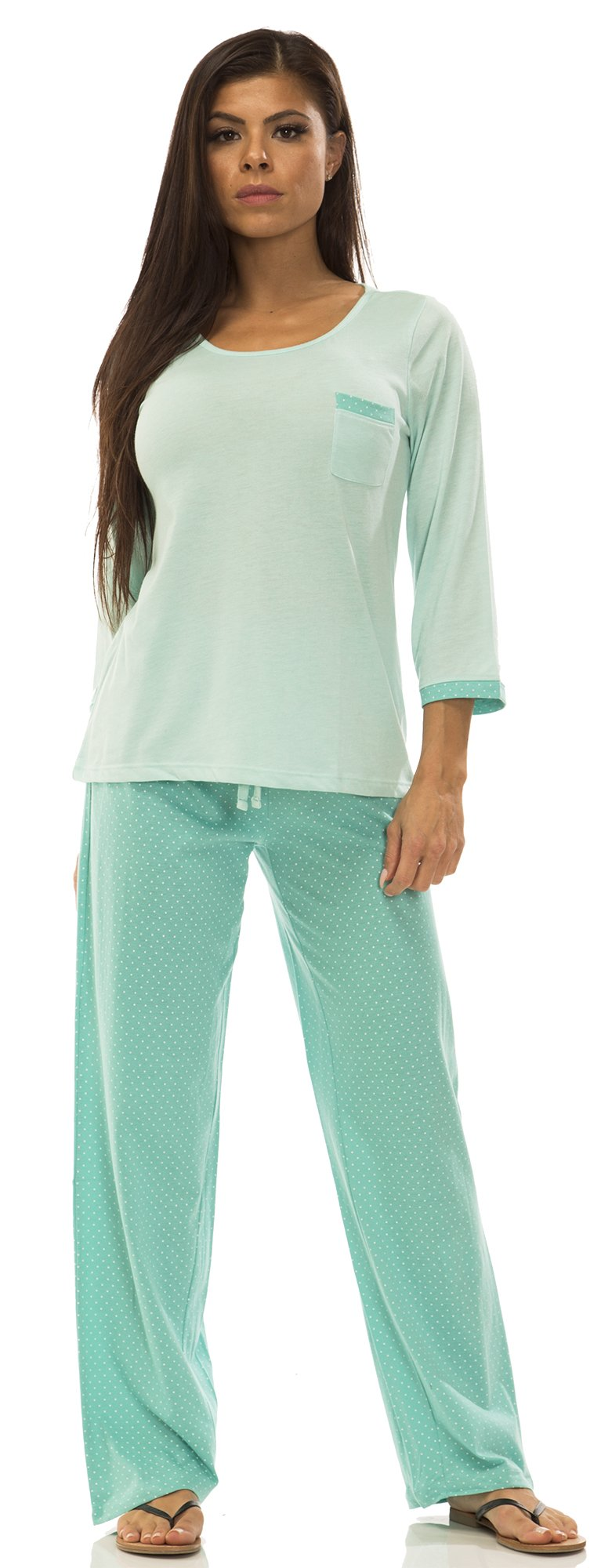 IZOD (6455AZ) Womens Womens 100% Cotton High Low Tee Pajama Lounge Set Size: Large in Turquoise (441)