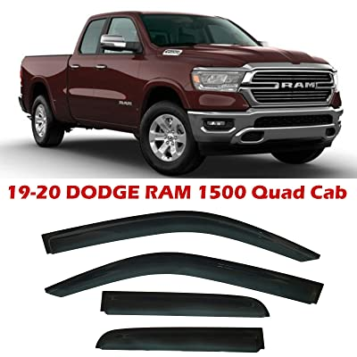 Optimal Co Smoke Tinted Side Window Vent Visor Deflectors Rain Guards fit for Dodge Ram 1500 Quad Cab 2020 2020 Only - 4 Piece Set: Automotive