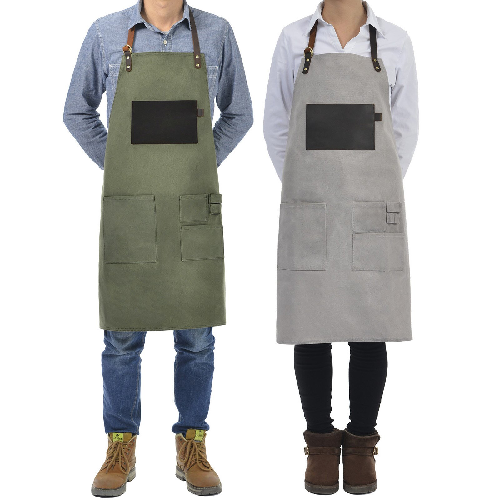 VEEYOO Heavy Duty Waxed Canvas Utility Apron with Pockets, Adjustable Shop Work Tool Welding Apron for Men and Women, Tan, 27x34 inches by VEEYOO (Image #8)