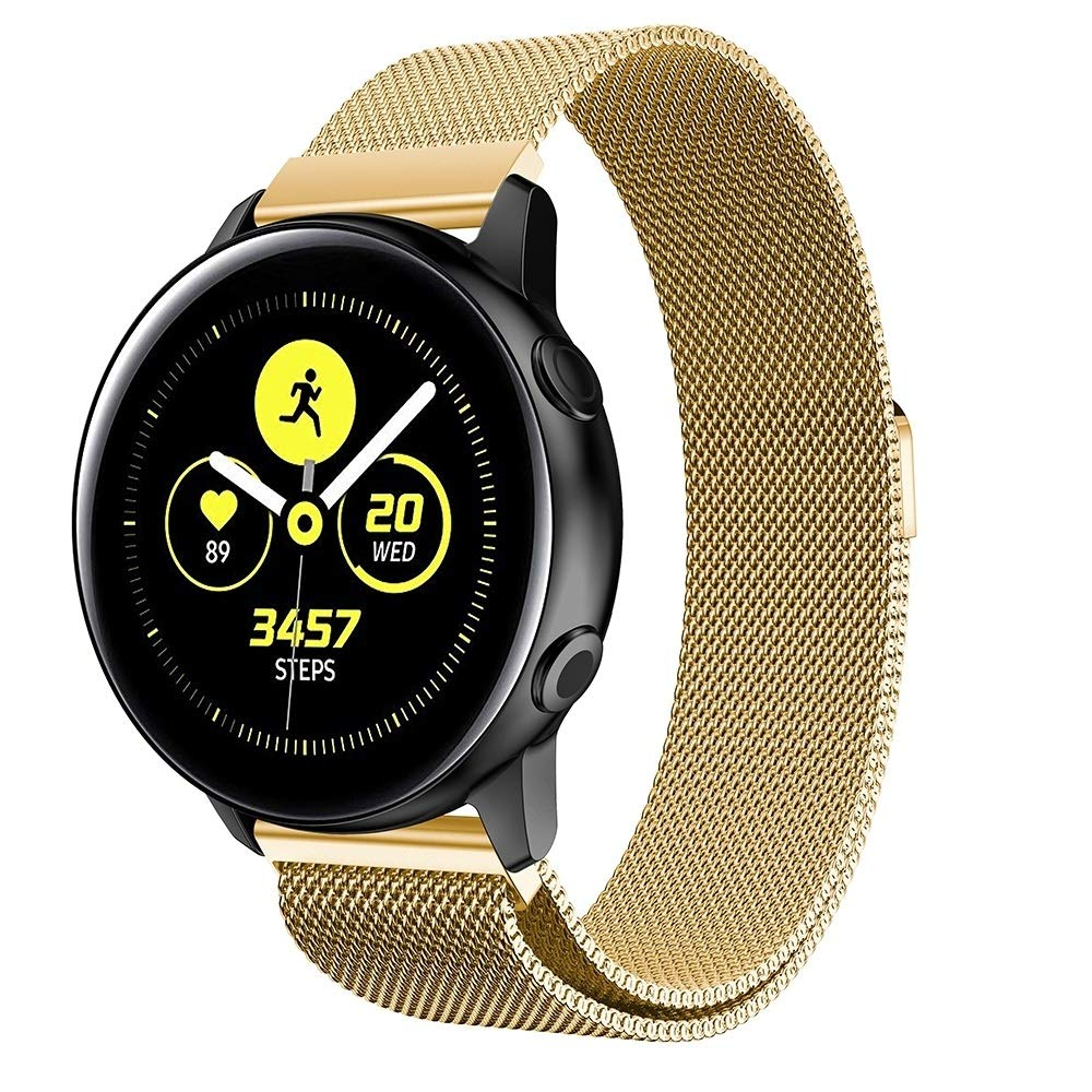 Milanis Magnetic Stainless Steel Mesh Wrist Strap WatchBand for Galaxy Watch Active 20mm Premium Quality (Color : Gold) by GuiPing