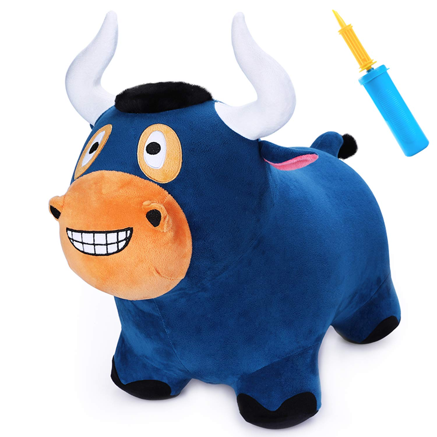 iPlay, iLearn Bouncy Bull Hopper Horse Ride on Toys, Inflatable Plush Riding Hopping Farm Animals, Outdoor Jumping Toddler Bouncer with Pump, Activity Gifts for 2, 3, 4, 5 Year Olds, Kids, Boys, Girls