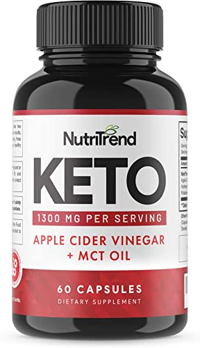 Keto Pills with Apple Cider Vinegar MCT Oil, BHB Weight Loss Supplement, Detox Support and Immune Health, Manage Cravings Improve Focus, Boost Energy Metabolism – 30 Day Supply by NutriTrend
