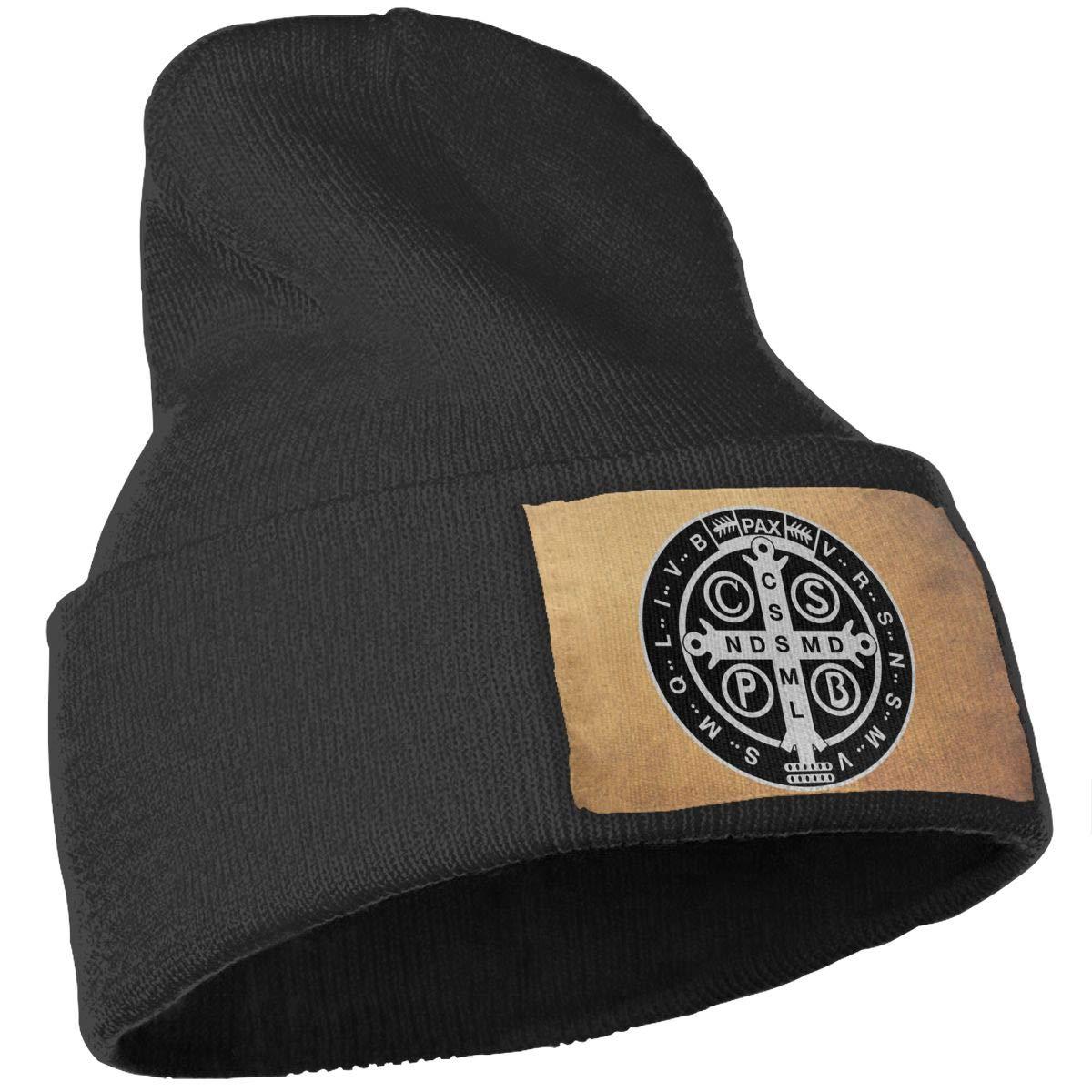 Saint Benedict Medal Beanie Hat Men /& Women Stylish Cap Wrinkled Slouchy Hats