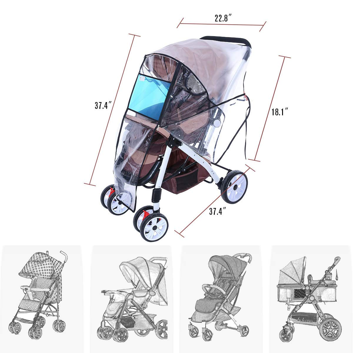 Hrzeem Stroller Rain Cover Stroller Cover Universal Baby Stroller Weather Shield with Storage Pouch EVA Clear Zip Front Opening Waterproof Windproof Protection Easy to Install for Outdoor Use (Black) by Hrzeem (Image #5)
