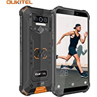 【2020】OUKITEL WP5 Dual 4G IP68 Sólido Móvil Libre Robusto,5.5'' HD (Gorilla Glass) Militar Resistente Android 9.0 Impermeable Smartphone, 8000mAh batería,3+32GB,13+5+2+2MP Cámara,4 LED Flash (Naranja)