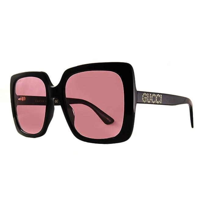 Amazon.com: Gafas de sol Gucci GG 0418 S- 002 negro/rosa ...