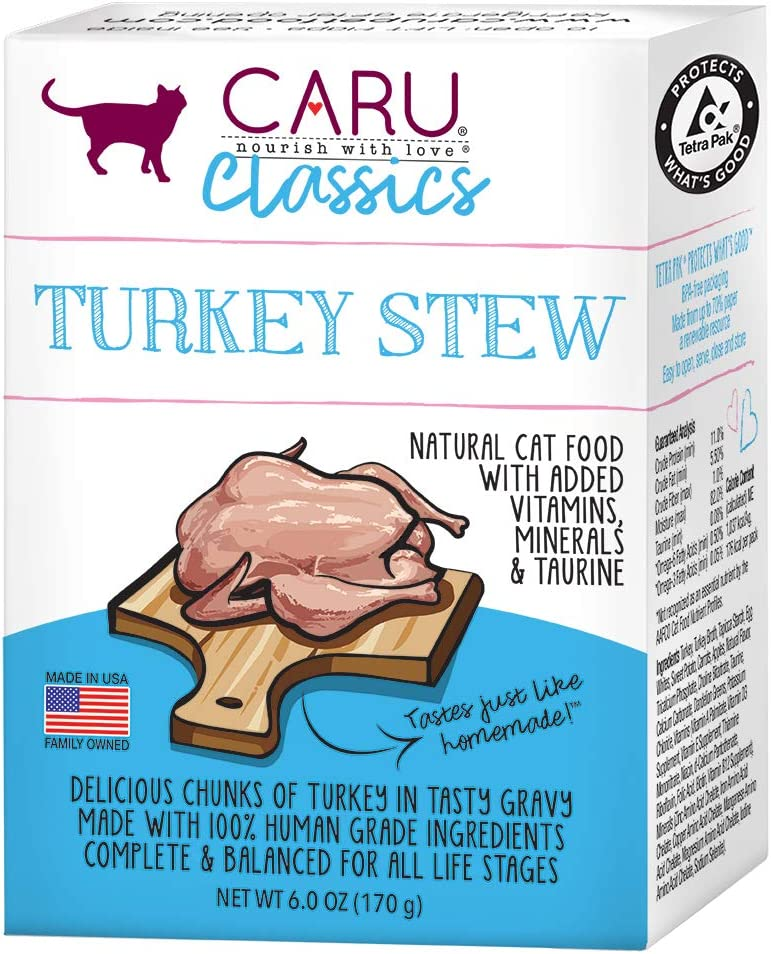 Caru - Turkey Stew for Cats, Natural Cat Food with Added Vitamins, Non-GMO Ingredients, Complete & Balanced for All Stages of Life (6 oz) - Case of 12