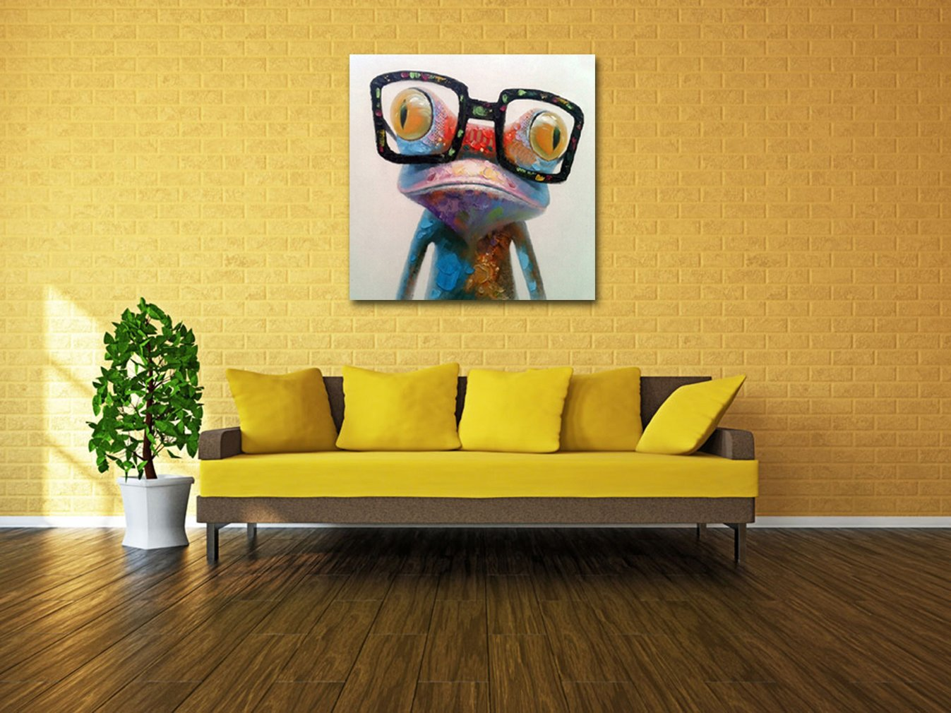 Amazon.com: Muzagroo Art Oil Painting Modern Art Happy Frog Painted ...