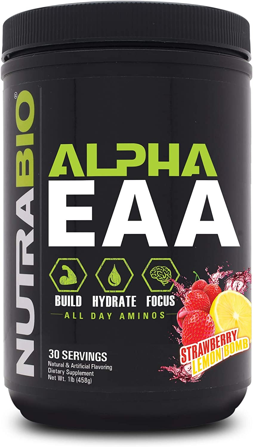 NutraBio Alpha EAA (Strawberry Lemon Bomb) – All-Day Recovery, Focus, and Hydration Supplement