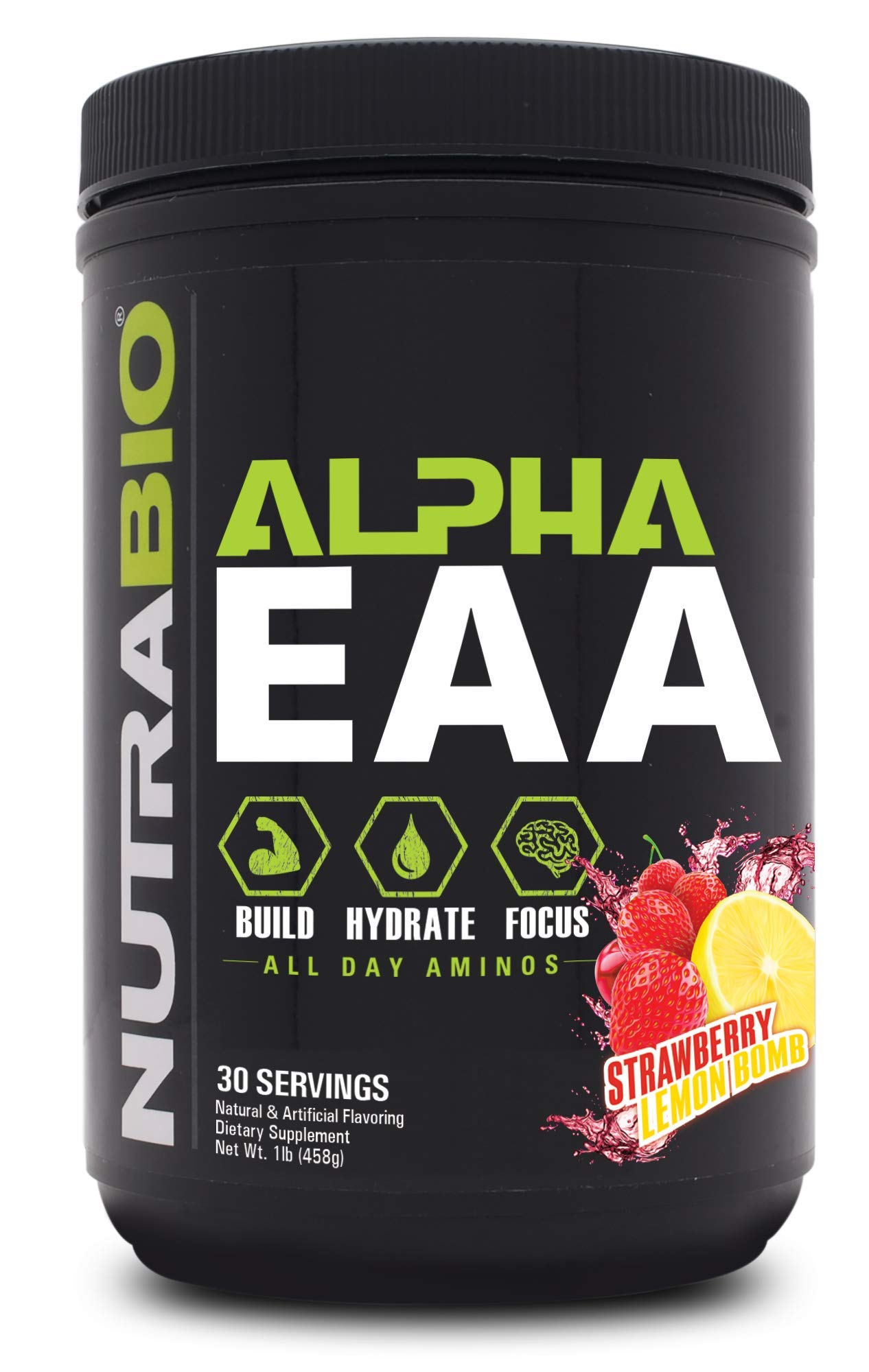 NutraBio Alpha EAA (Strawberry Lemon Bomb) - All-Day Recovery, Focus, and Hydration Supplement