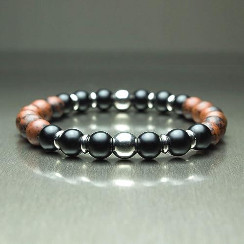 8 mm Gemme 6 mm Boutique Bracelet Bracelet Noir Agate Agate Bracelet