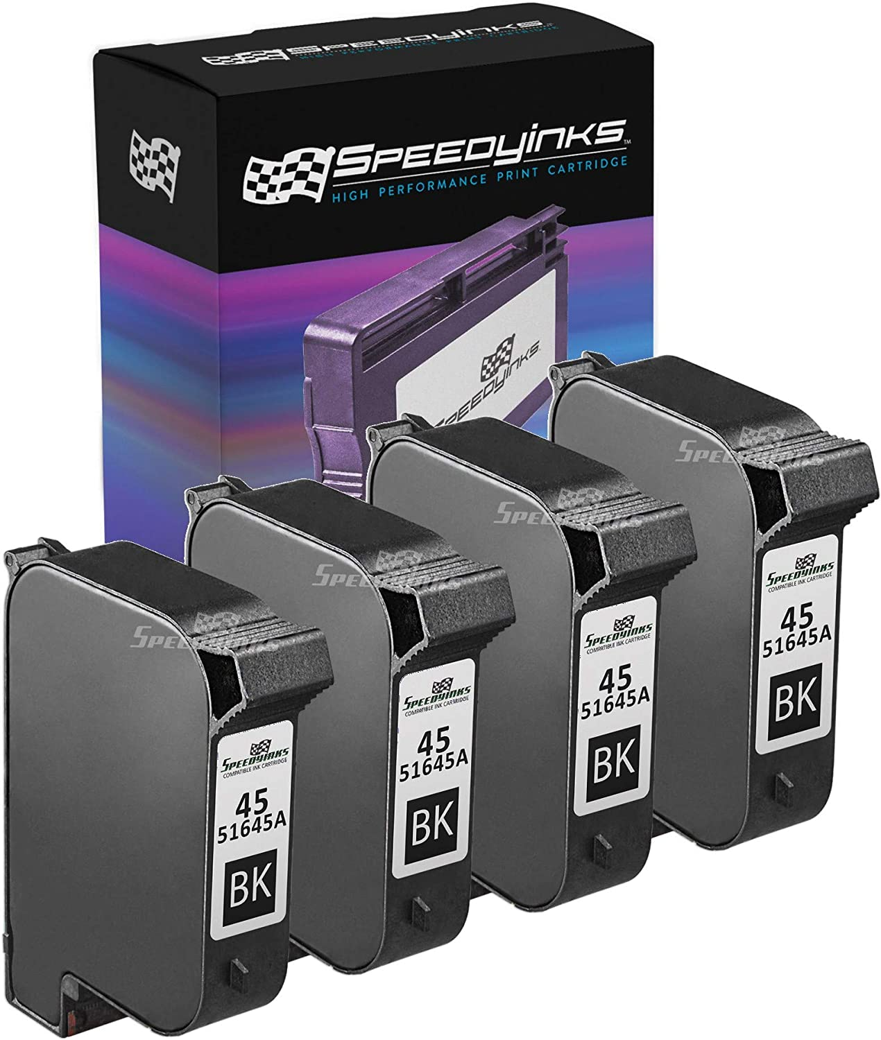Speedy Inks Remanufactured Ink Cartridge Replacement for HP 45 (Black, 4-Pack)