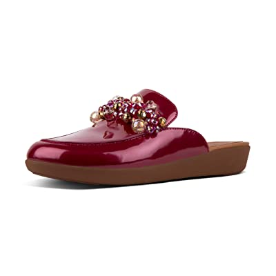 Amazon.com | FITFLOP Womens Serene Deco Patent Duocomff Loafer Mule | Mules & Clogs