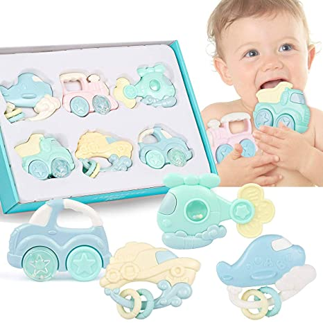 Baby Rattle Teether Set Infant Kids Toddler Vehicle Model Natural Rubber  Toys Ball Shaker Musical Sound 8e9930d43