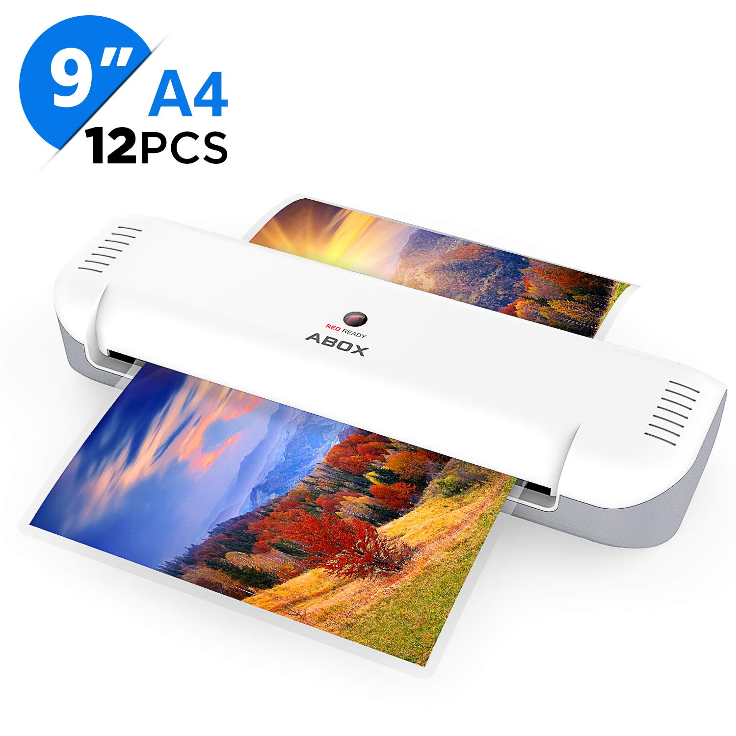 ABOX 9'' Thermal Laminator Machine for A4/A5/A7, 2019 Newest Portable Laminating Machine with 12 Laminating Pouches, Two Roller System, 2 Min Fast Warm-up, High Speed&No Bubbles,for Home/Office/School