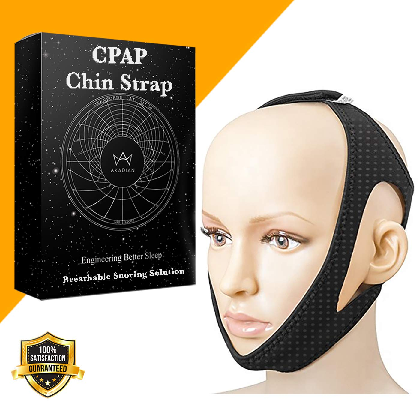 CPAP Anti-Snoring Chin Strap - Night Snore Stopper - Small to Medium Size - Sleep Solution Aid Device for Women Men Works for Bad Breath - Keeps Mouth Closed by Akadian