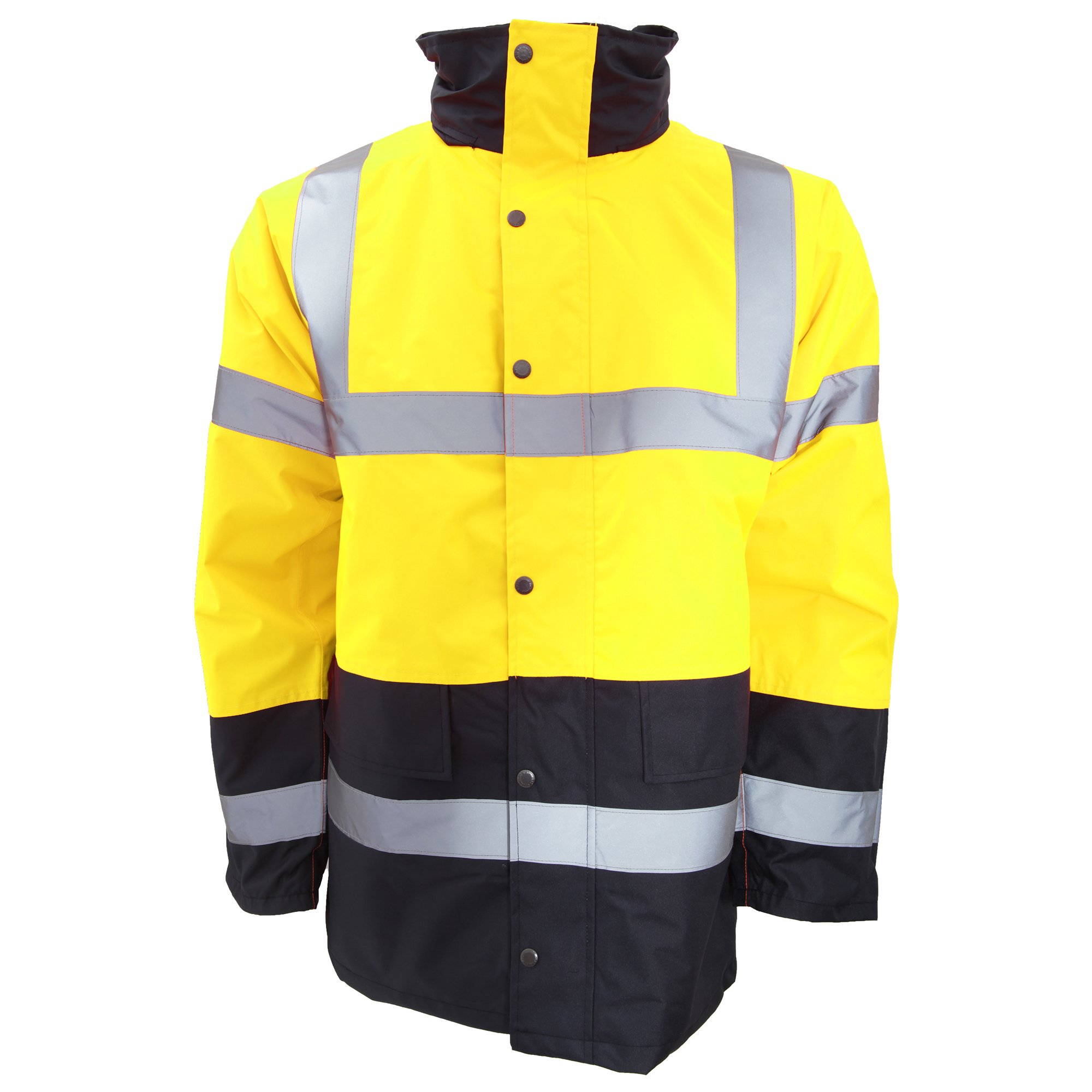 Portwest Mens Hi-Vis Waterproof Contrast Panel Traffic Jacket (L) (Yellow/Navy) by Portwest
