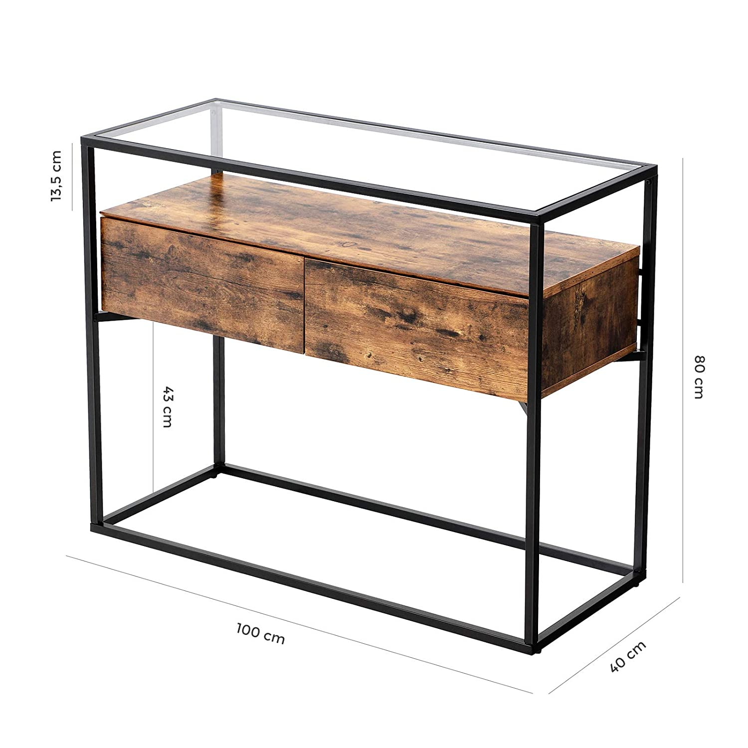 Fantastic Vasagle Industrial Console Table Tempered Glass Table With Dailytribune Chair Design For Home Dailytribuneorg