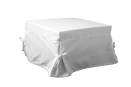 Pouf Che Diventa Letto Singolo.Ponti Divani Fodera Rivestimento Con Balza E Laccetti Per Pouf Letto Singolo 75 5x75 5 H 43cm Tessuto Bianco