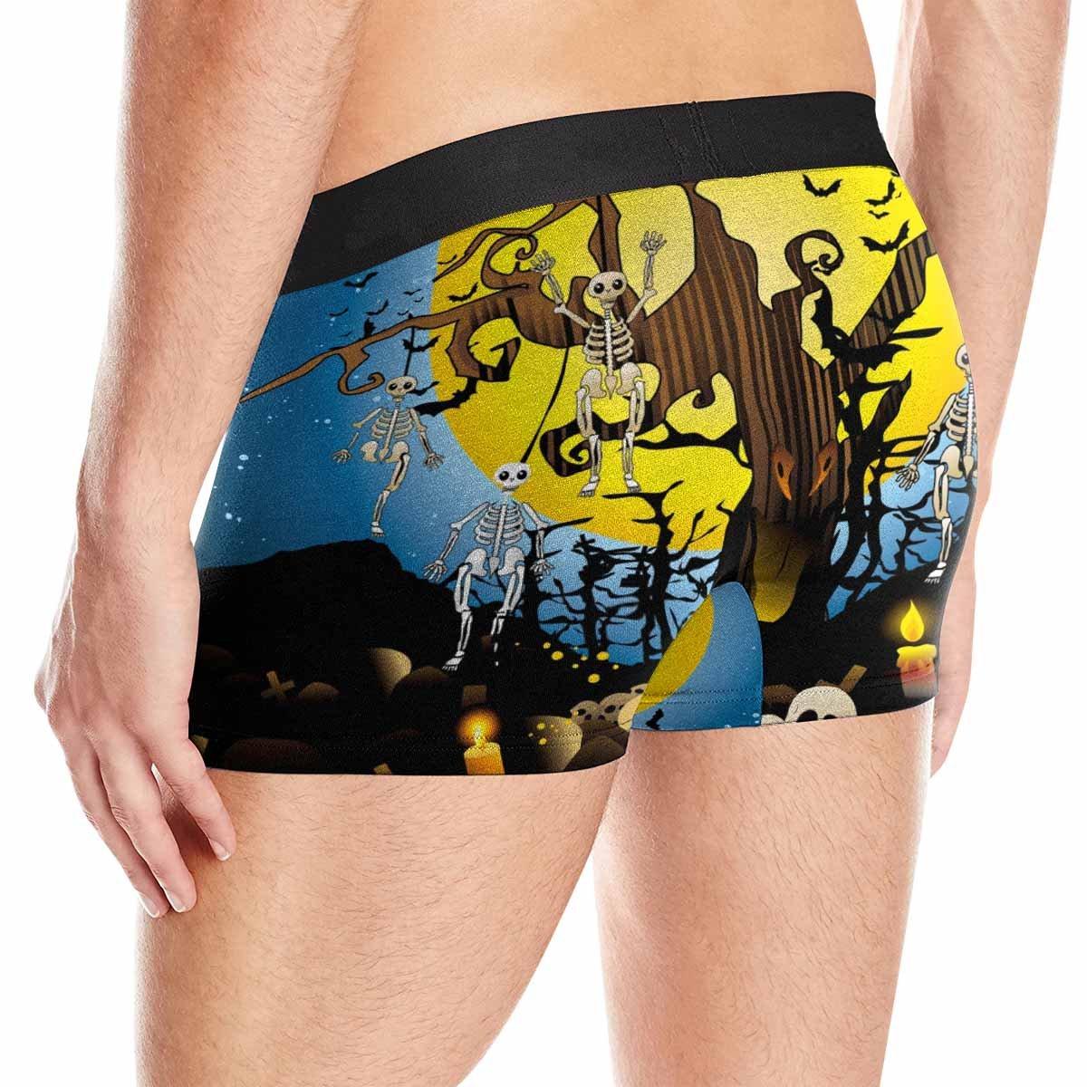 INTERESTPRINT Mens Boxer Briefs Underwear Halloween Skeleton Wood L