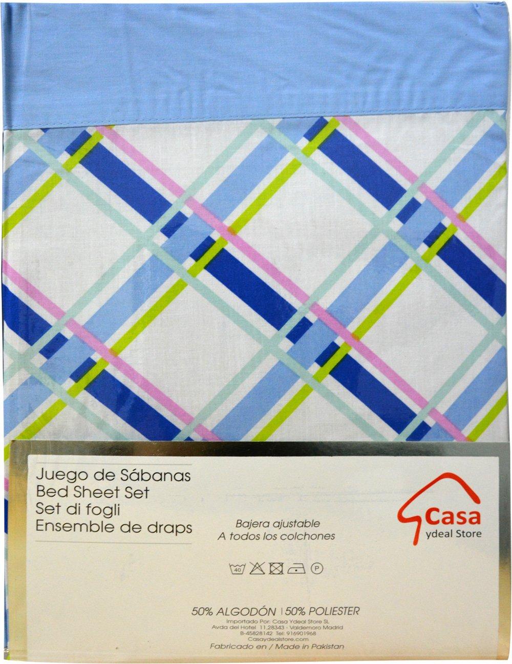 Casa Ydeal Store Juego de Sábanas Cuadros 50% algodón 50% poliéster (105cm, Azul): Amazon.es: Hogar