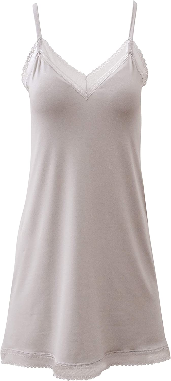 Proudly Made in Italy. EGI Luxury Viscose Womens Lace-Trimmed Full Slips Chemise