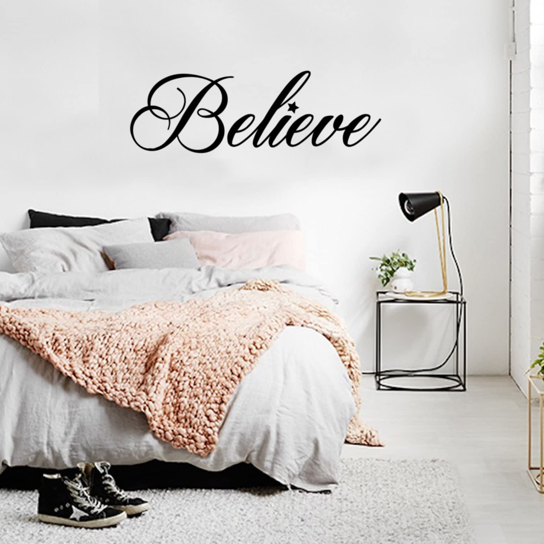 "Vinyl Wall Art Decal - Believe - 12.5"" x 35"" - Trendy Inspirational Cute Positive Girly Quote Sticker for Girls Room Bedroom Closet Playroom Office Yoga Ballet Feminine Decor"