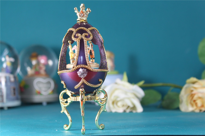 【保障できる】 紫の 回転木馬 B01HACYRRM 女の子のためのオルゴールイースターエッグ クラウン クラウン 回転木馬 卵殻オルゴール B01HACYRRM, 【日本産】:b2fa2fa9 --- arcego.dominiotemporario.com