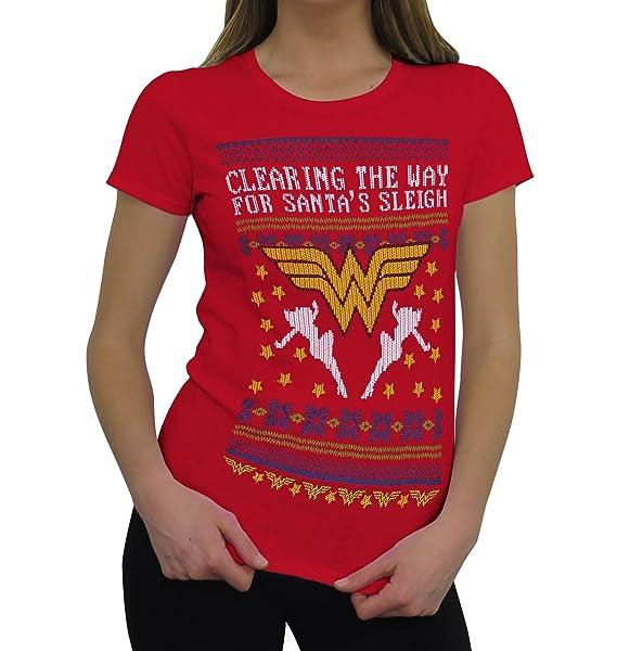 ddd9f392ca0 SuperHeroStuff Wonder Woman 8-Bit Ugly Sweater Women s T-Shirt- Fitted Small