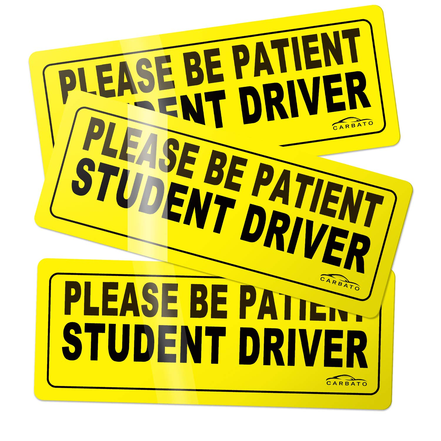 Car Vehicle Reflective Sign Sticker Bumper for New Drivers CARBATO Please Be Patient Student Driver Safety Sign Vehicle Bumper Magnet Set of 3
