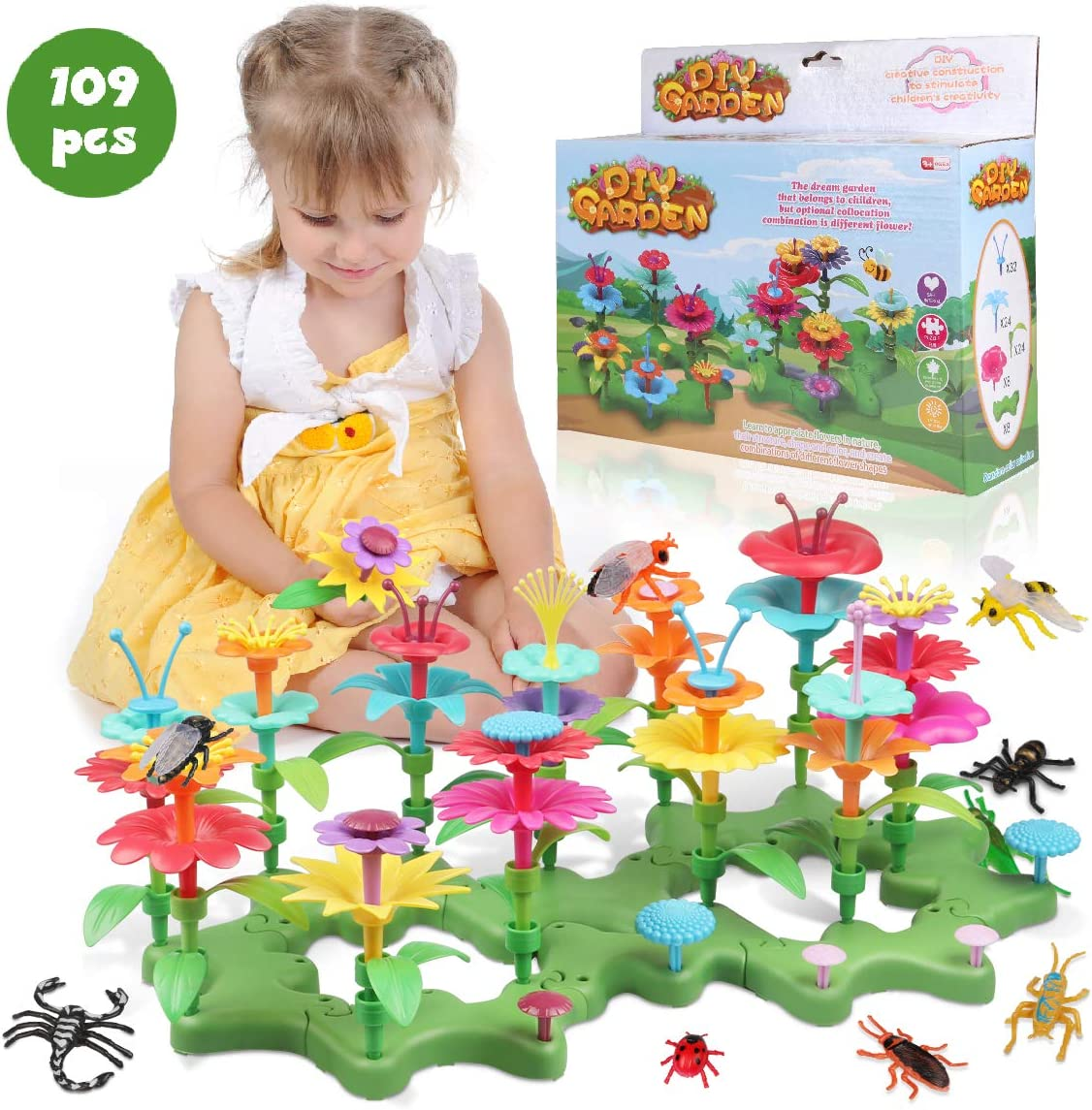 Lydaz 109 PCS Flower Garden Building Toys for Girls, STEM DIY Craft Toys - Kids Flower Educational Pretend Gardening Playset, Outdoor Toys for Toddlers 3 4 5 6 7 8 9 Year Old Girl Birthday Gift