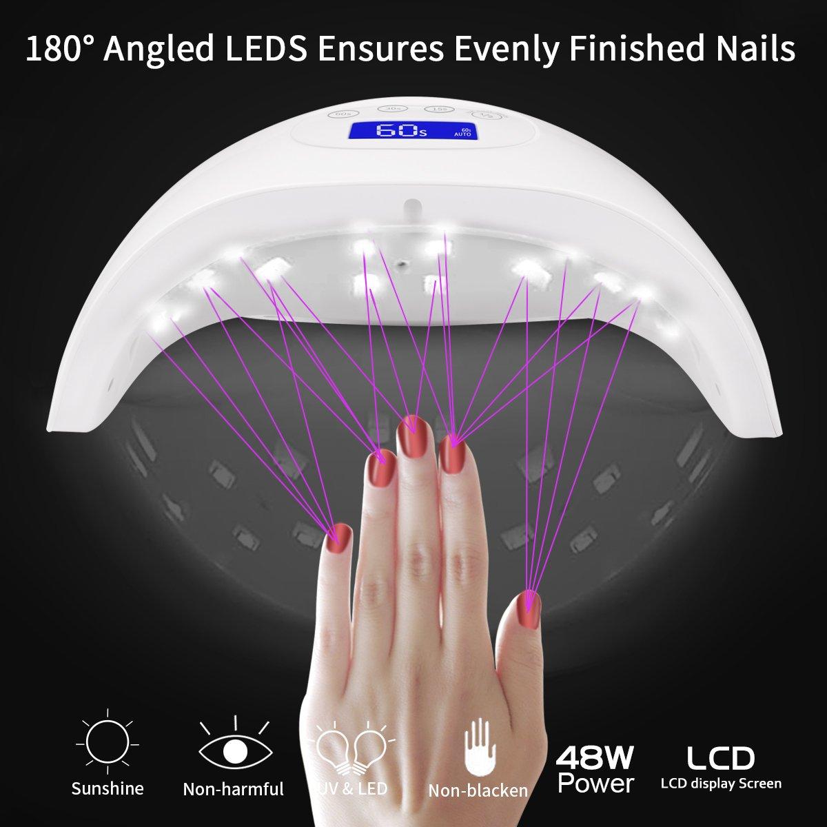 48W Lámpara Secador de Uñas, Morpilot LED UV Lámpara Profesional para Manicura y Pedicura, Pantalla LCD y Temporizador de 15s / 30s / 60s