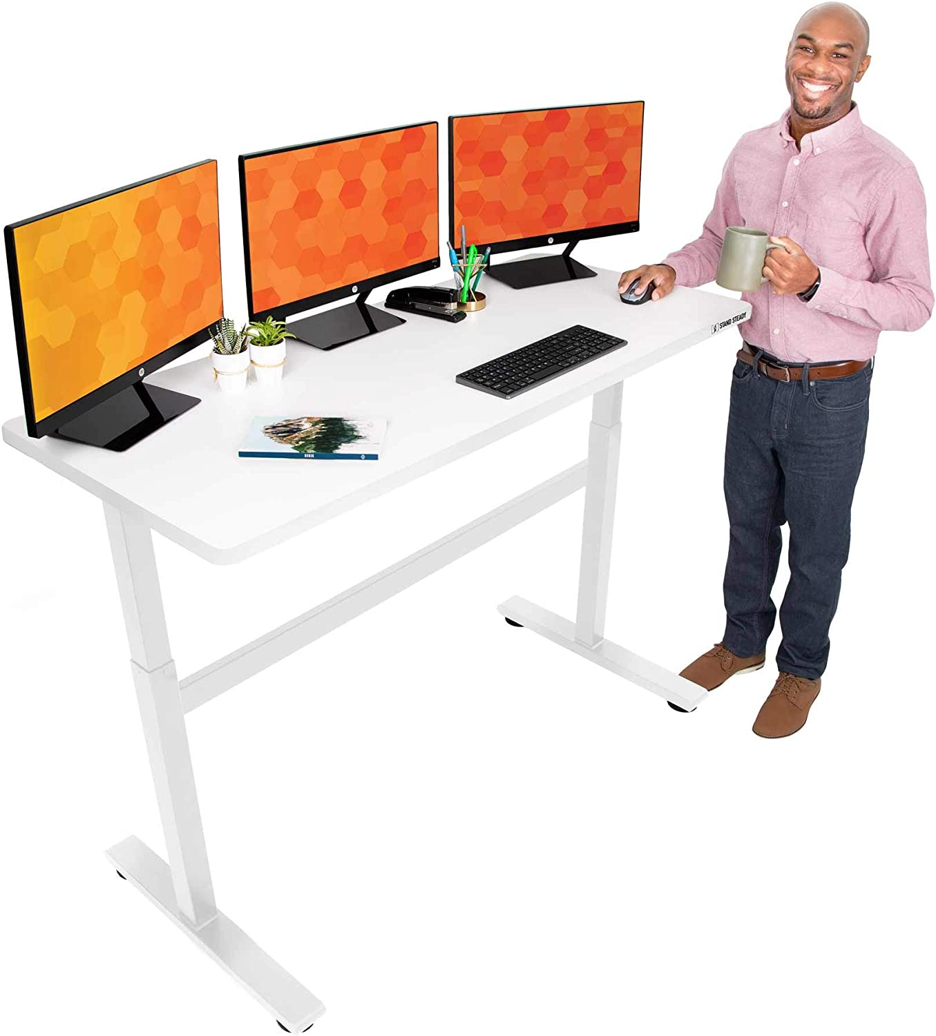 Stand Steady Tranzendesk 55 Inch Standing Desk | Easy Crank Height Adjustable Sit to Stand Workstation | Modern Ergonomic Desk Supports 3 Monitors | Perfect for Home & Office! (55