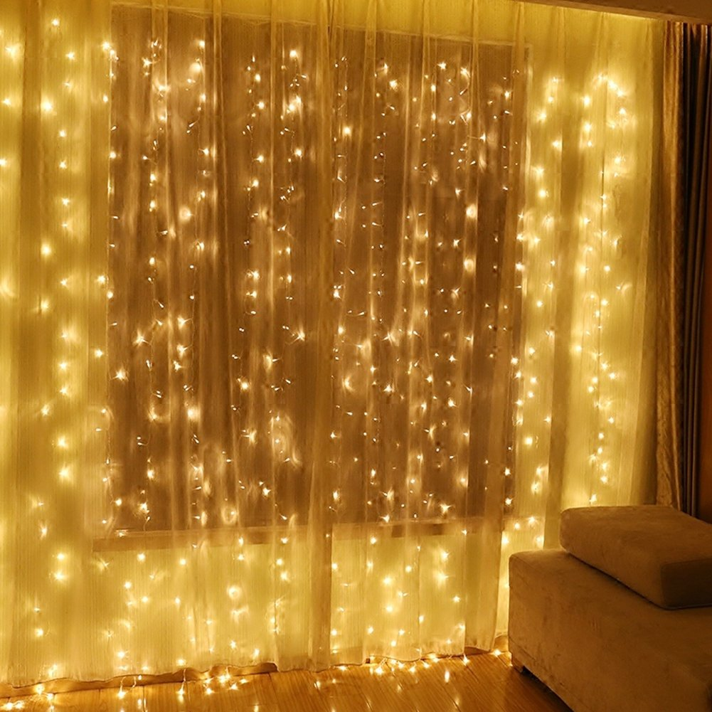 Twinkle Star 600 LED Window Curtain String Light for Wedding Party Home Garden Bedroom Outdoor Indoor Wall, Warm White by Twinkle Star