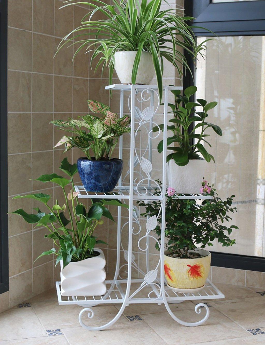 LB huajia ZHANWEI Europäischen Stil Blume Racks Balkon Eisen DREI-Schicht-Anlage Blumentöpfe Wohnzimmer Blumenregal (Farbe : C)
