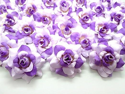 Amazon Com 100 Silk Two Tone Purple Roses Flower Head 1 75