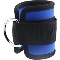 Double D-Ring Ankle Cuff Straps Adjustable Leg Weight Wrist Belt for Cable Machine Attachment Blue