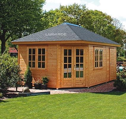 Lugarde Gartenhaus Lise Aus Fichtenholz Neu Mit Pyramidendach Und Glaserner Doppeltur Mit Querbalken Amazon De Garten