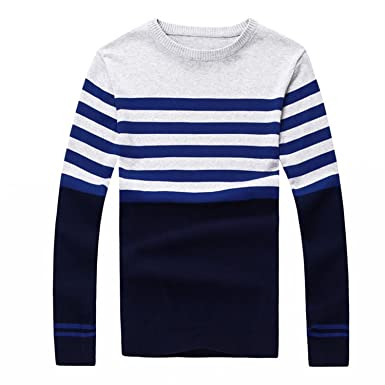 Processes Pullover Sweater Men Spring Autumn Casual Sweater Men Long Sleeve O-Neck Blue M