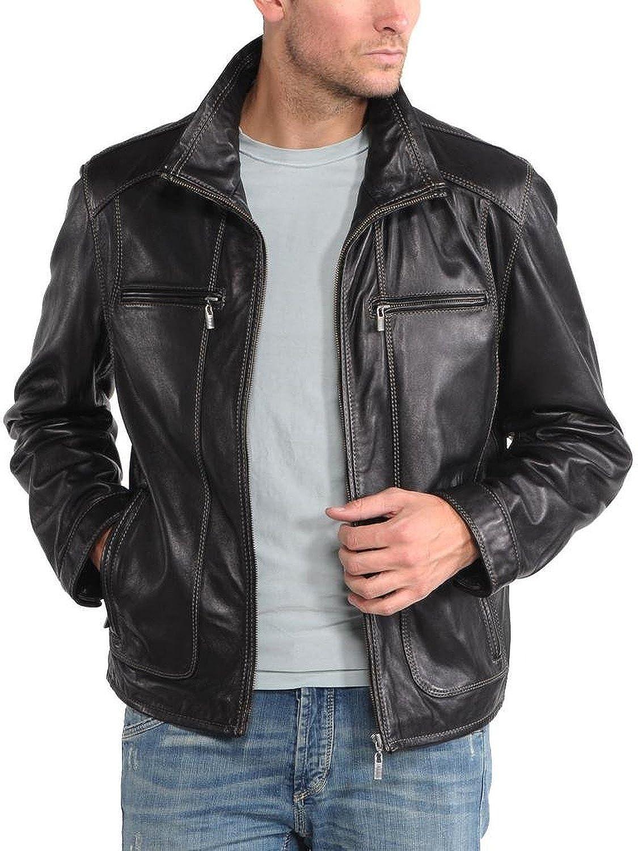 Laverapelle Men's Lamb Skin Real Leather jacket Black - 1510337